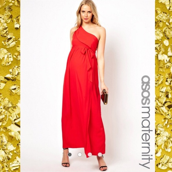 7f7058c8b928e ASOS Maternity Dresses   Red One Shoulder Dress G3   Poshmark